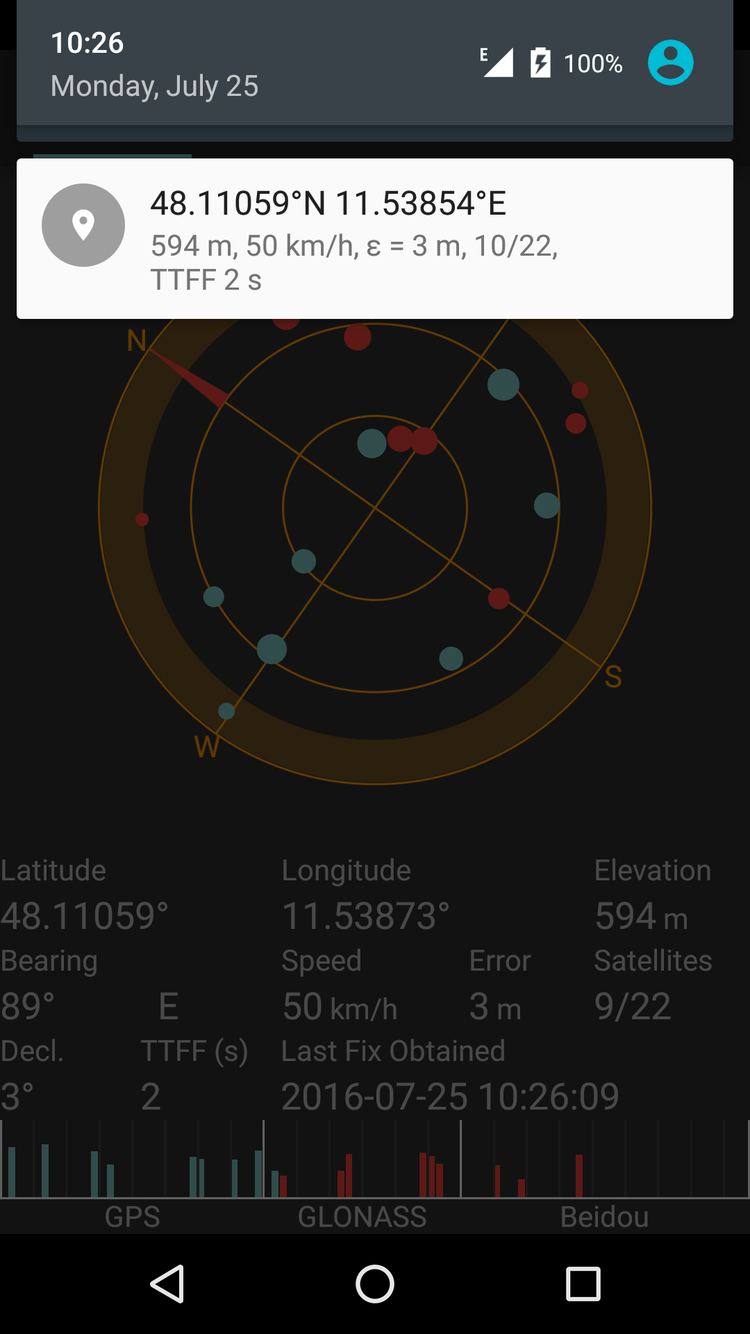 GPS notification in SatStat with fix