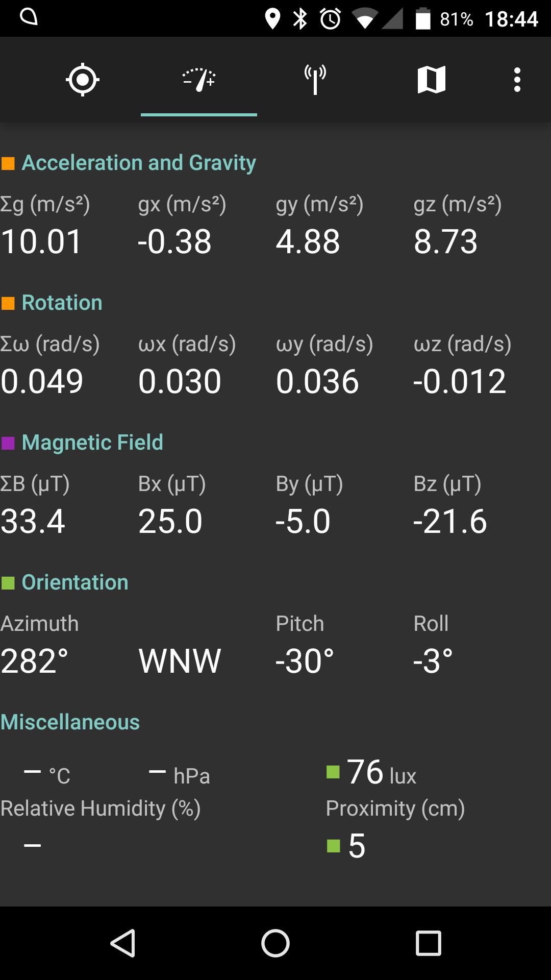Sensor view in SatStat